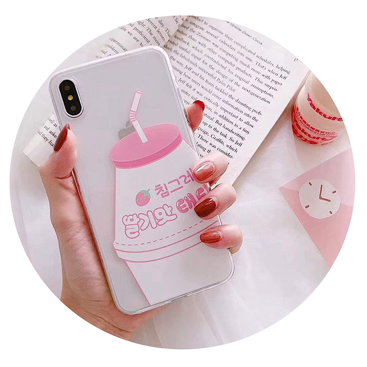 Korean Pink Strawberry Yogurt Mobile Phone case for iPhoneX XR XS MAX Couple Mobile Phone case for iPhone 7 6 8 Plus case,Red,for iPhone Xs Max