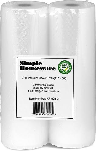 "high quality 2 Pack - online sale SimpleHouseware 11"" x 50 Feet Vacuum Sealer Bags (total discount 100 feet) online"