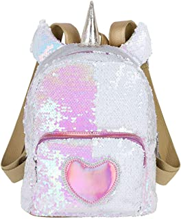 Girls Shiny Glitter Reversible Sequin Small Backpack For Travel, Camp, School, Preschool, Kindergarten, Toddler Size, Fashion Purse (Unicorn)