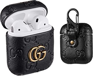 Sunnee for Airpods 1&2 Case,Luxury Leather Shockproof Airpod Cover Carabiner Headphone Designer Fashion Fun Cool Keychain Design Skin Protective Cases Ring for Girls Man Woman Air pods(Black G)
