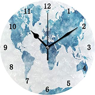 ZZKKO World Map Wall Clock, Silent Non Ticking Battery Operated Easy to Read Decorative Wall Clock for Kitchen Bedroom Bathroom Living Room Classroom