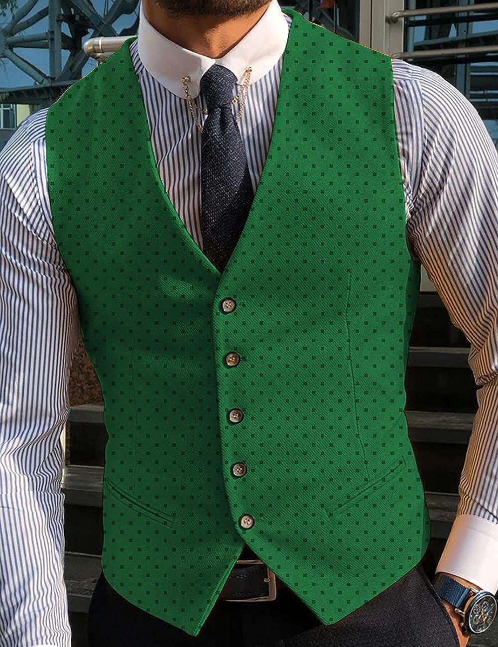 Fashion Men's Suits Vest Solid Black Dot Formal Waistcoat Business Wedding Groomsmen