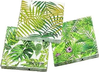 Home Collection Fiesta, cumpleaños - Juego de 3 servilletas desechables - motivo: Hojas Monstera Philodendron Palma - estilo: Tropical - (cantidad: 60 piezas) - 3 capas - 33x33cm