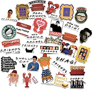 34 pcs Movie Friends Themed Waterproof Vinyl Stickers for Personalize Laptop, Car, Helmet, Skateboard, Luggage Graffiti Decals (Friends)