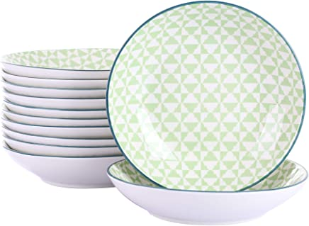 Preisvergleich für Vancasso Midori Porzellan Suppenteller, 12 teilig Teller Set, 600 ml Salatteller, Tief Pastateller