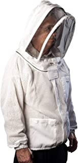 Forest Beekeeping Vented-Jacket with Fencing Veil Hood, Ventilated Premium Beekeeper Jackets YKK Brass Zippers, Profession...