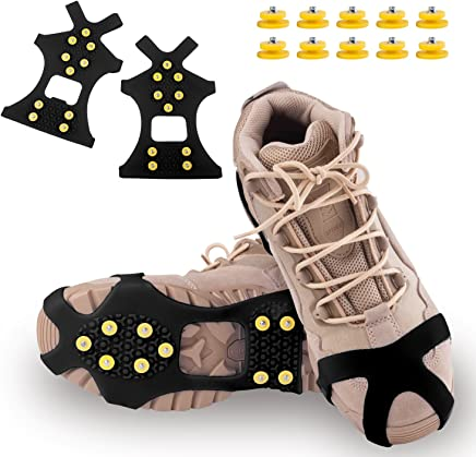 DUALF Traction Cleats, Snow Grips Ice Creepers Over Shoe Boot,Anti Slip 10-Studs TPE Rubber Crampons with 10 Free Studs for Footwear (Blue/Black)