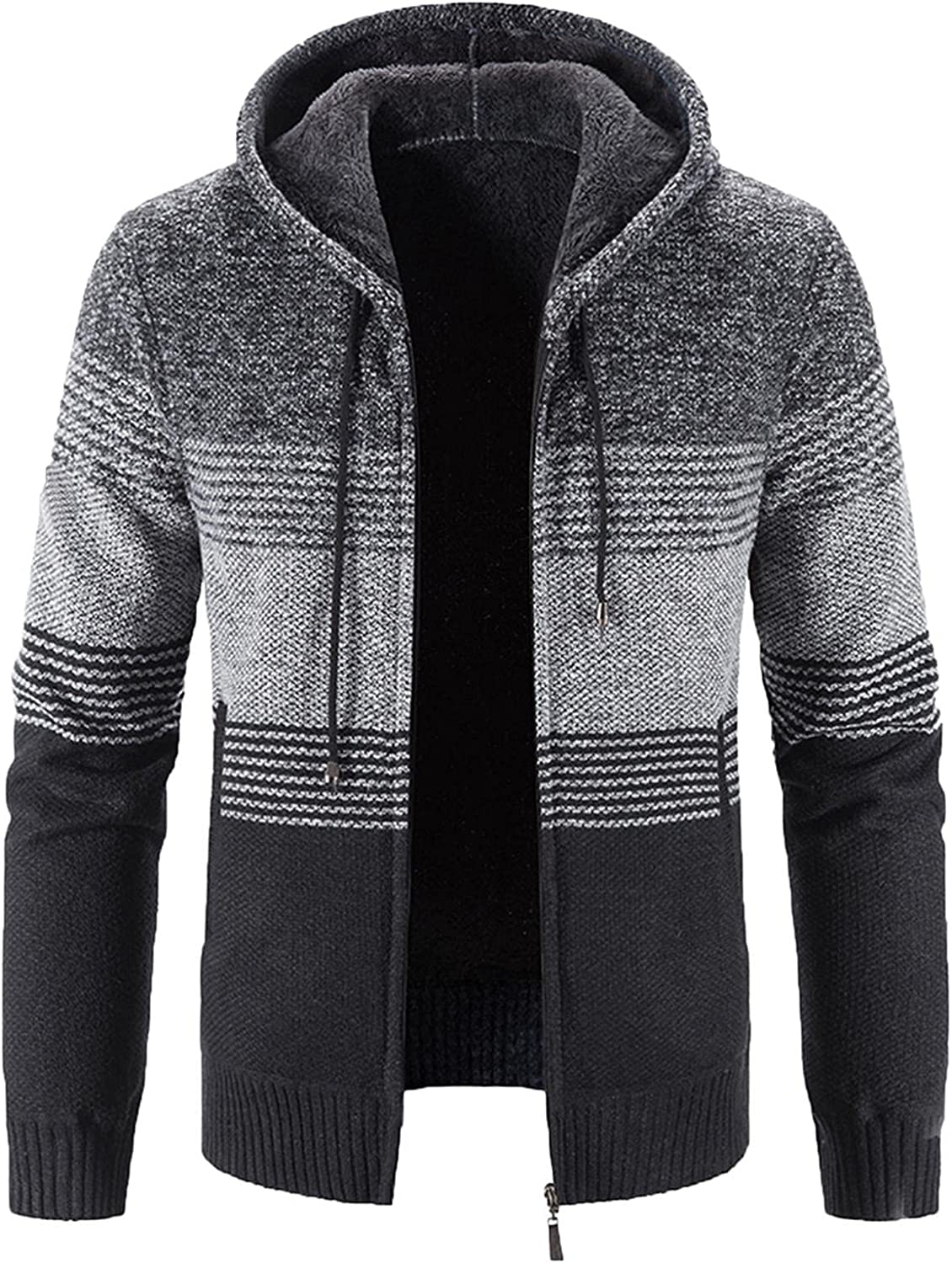 Mens Hooded Knitted Cardigan Sweater Long Sleeved Slim Fit Knitwear Tops Classic Casual Full Zipped Jacket Blouse