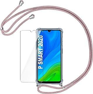 AROYI Funda con Cuerda para Huawei P Smart 2020 + Protector Pantalla, Carcasa Transparente TPU Silicona Case con Colgante Ajustable Collar Correa de Cordón para Huawei P Smart 2020 (Oro Rosa)