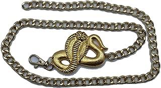 TFJ Women Fashion Belt Hip Waist Gold Metal Chains Cobra Snake Buckle Plus M L XL