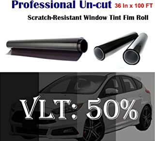 Mkbrother Uncut Roll Window Tint Film 50% VLT 36 in x 100' Ft Feet Car Home Office Glasss