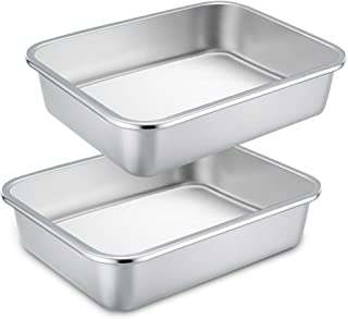 TeamFar Lasagna Pan, 2 PCS Brownie Pan Rectangular Cake Pan Deep Lasagna Pan Stainless Steel for Baking Roasting, 12.75''×...
