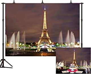 Beautiful Paris Eiffel Tower Square Photo Studio Backdrop 7x5ft/10x7FT Paris Night View Props Wall Photography Background EY018