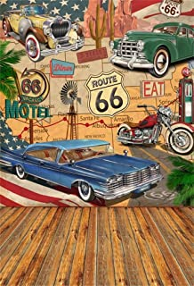 AOFOTO 5x7ft Vintage Route 66 Backdrop for Product Display Comic Retro Motel Motor Car Truck Poster Wood Floor Portrait Photo Background Signs Filling Station Tire Service Adults Kids Photo Shoot Prop