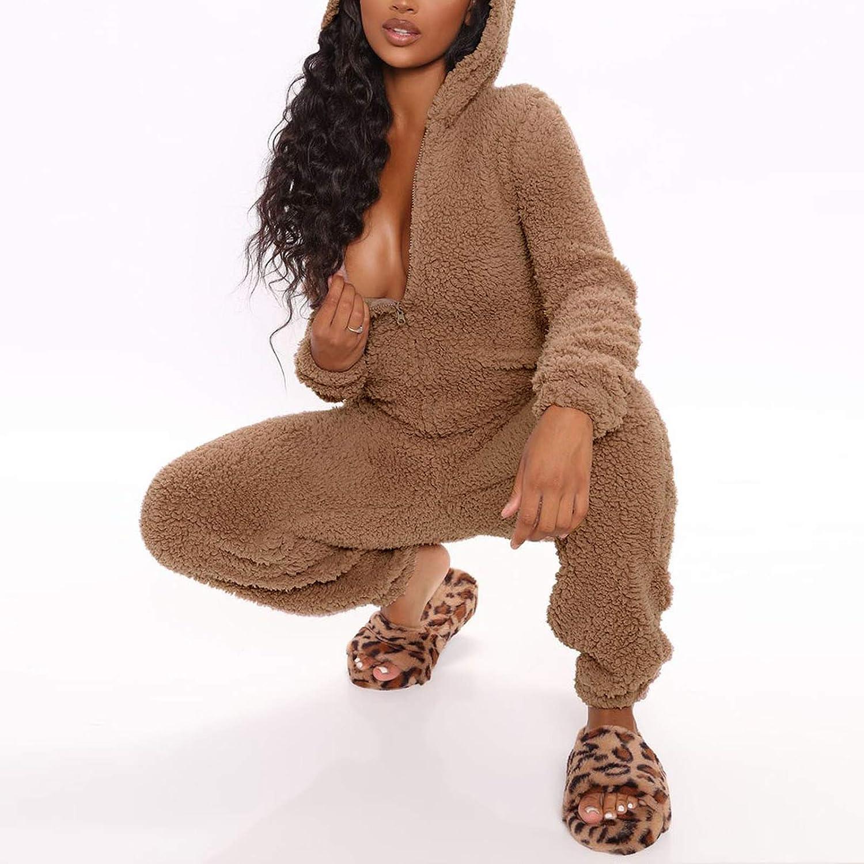 Coral Fleece Plush Hooded Jumpsuit Nightwear Womens Warm One Piece Footed Pajamas