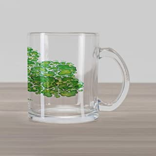 Lunarable Shamrock Glass Mug, Irish Saint Patrick's Day Pattern with Spring Season Celtic Charm Design, Printed Clear Glass Coffee Mug Cup for Beverages Water Tea Drinks, Green and White