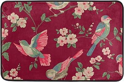 MASSIKOA Vintage Floral Bird Non Slip Backing Entrance Doormat Floor Mat Rug Indoor Outdoor Front Door Bathroom Mats, 23.6 x 15.7 inches
