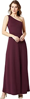 Miss Chase Women's Slim Fit One Shoulder Long Dress with Side Slit