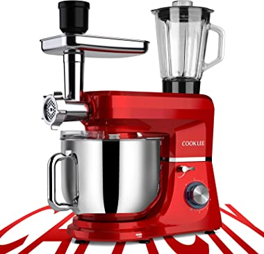 COOKLEE 6-IN-1 Stand Mixer, 8.5 Qt. Multifunctional Electric Kitchen Mixer with 9 Accessories for Most Home Cooks, SM-1507BM,