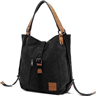 JOSEKO Canvas Tasche, Damen Rucksack Handtasche Vintage Umhängentasche Anti Diebstahl Hobotasche für Alltag Büro Schule Ausflug EinkaufSchwarz