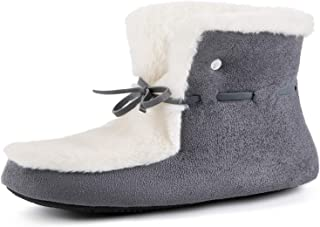 RockDove Women's Faux Fur Lined House Bootie Memory Foam Hardsole Slipper Boot with Adjustable Laces