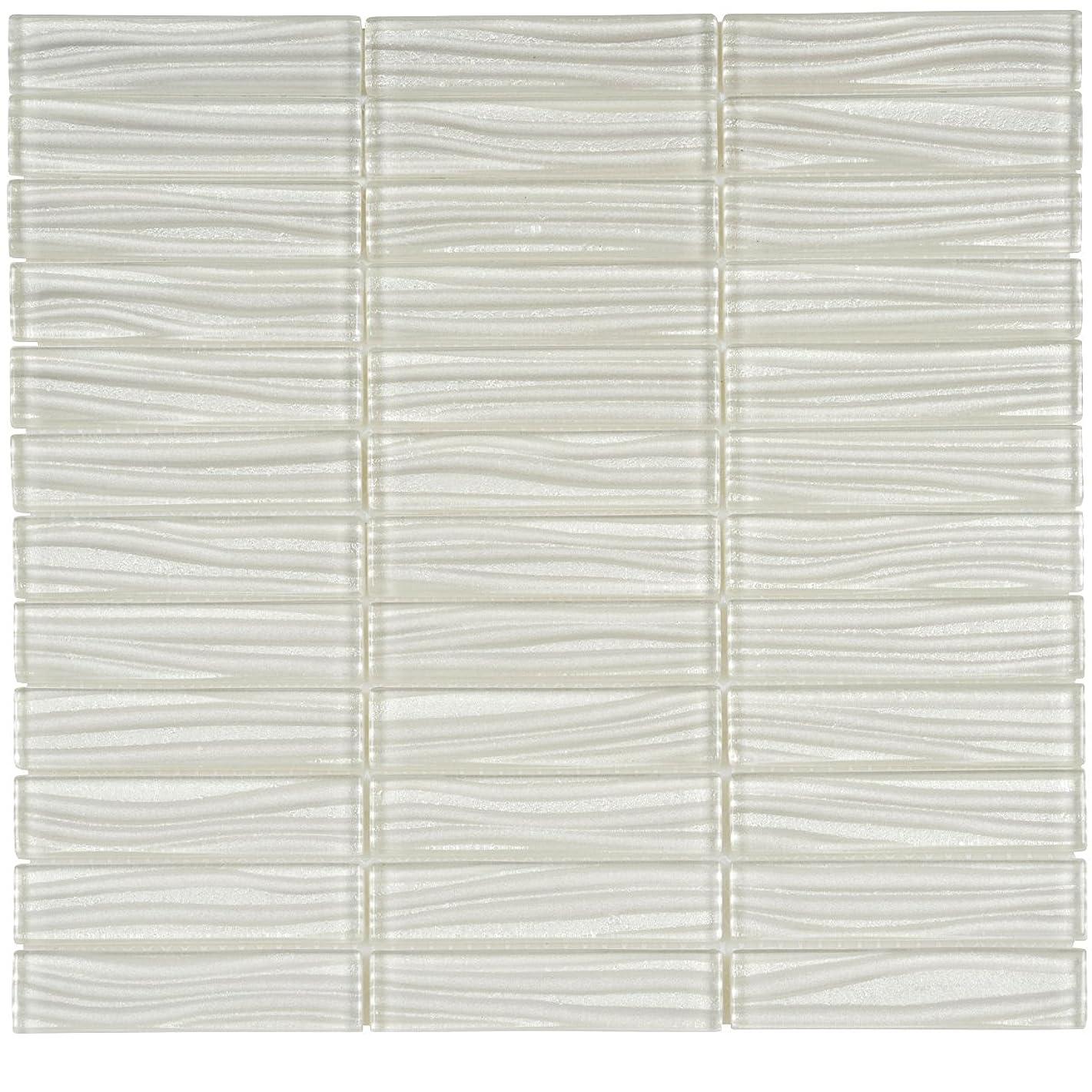 Modket TDH38MO Super White Wave Metallic Cold Spray Mosaic Tile Stacked Pattern Backsplash
