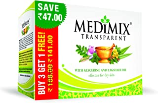 Medimix Transparent with Glycerine and Lakshadi Oil Soap Combi Pack, Green, 375g with 125g