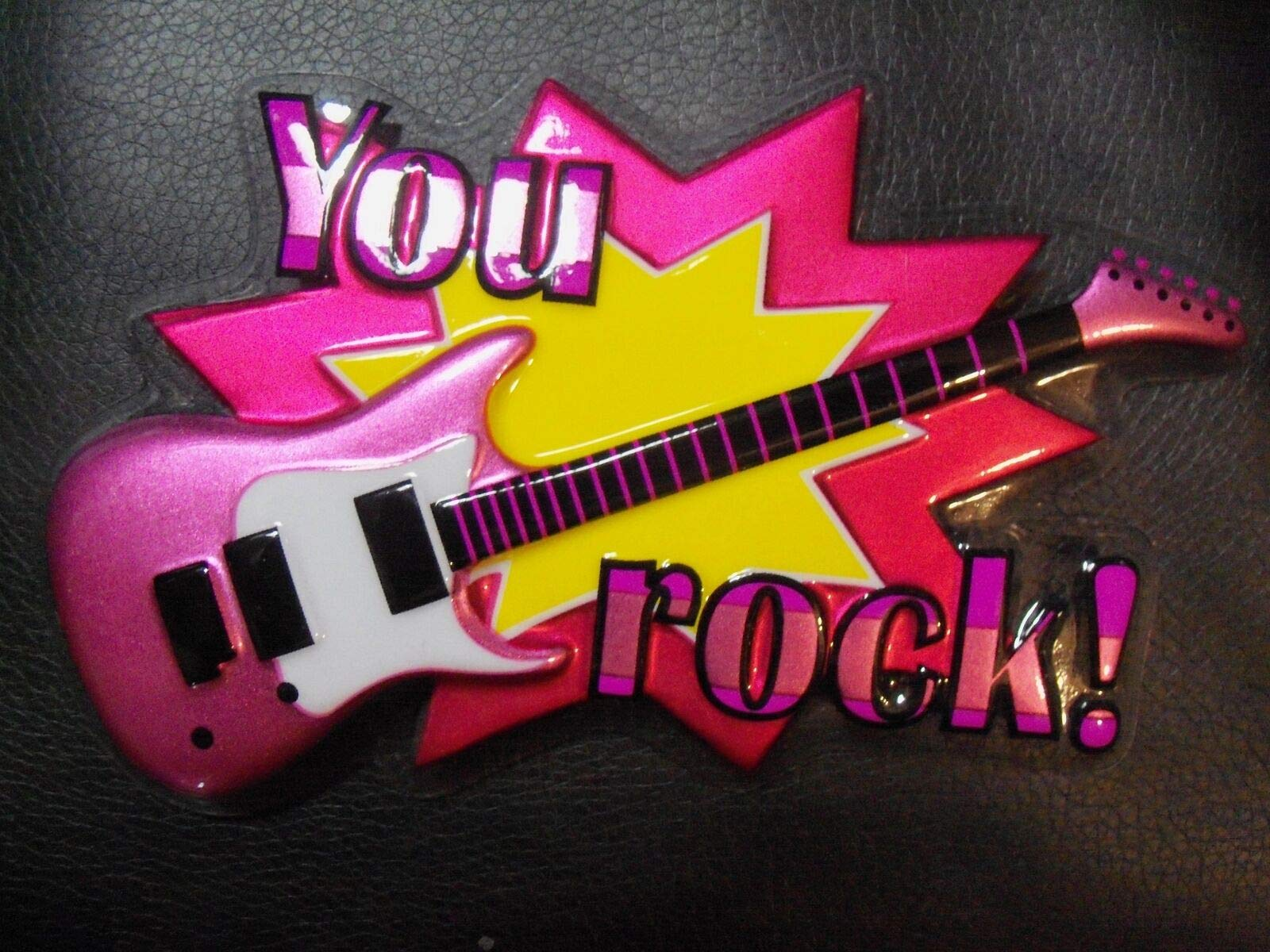 Cheap Risalana 1 You Rock Guitar Emblem Cake Topper Music Party Electric Guitar(Pink Rock On) Black Friday & Cyber Monday 2019