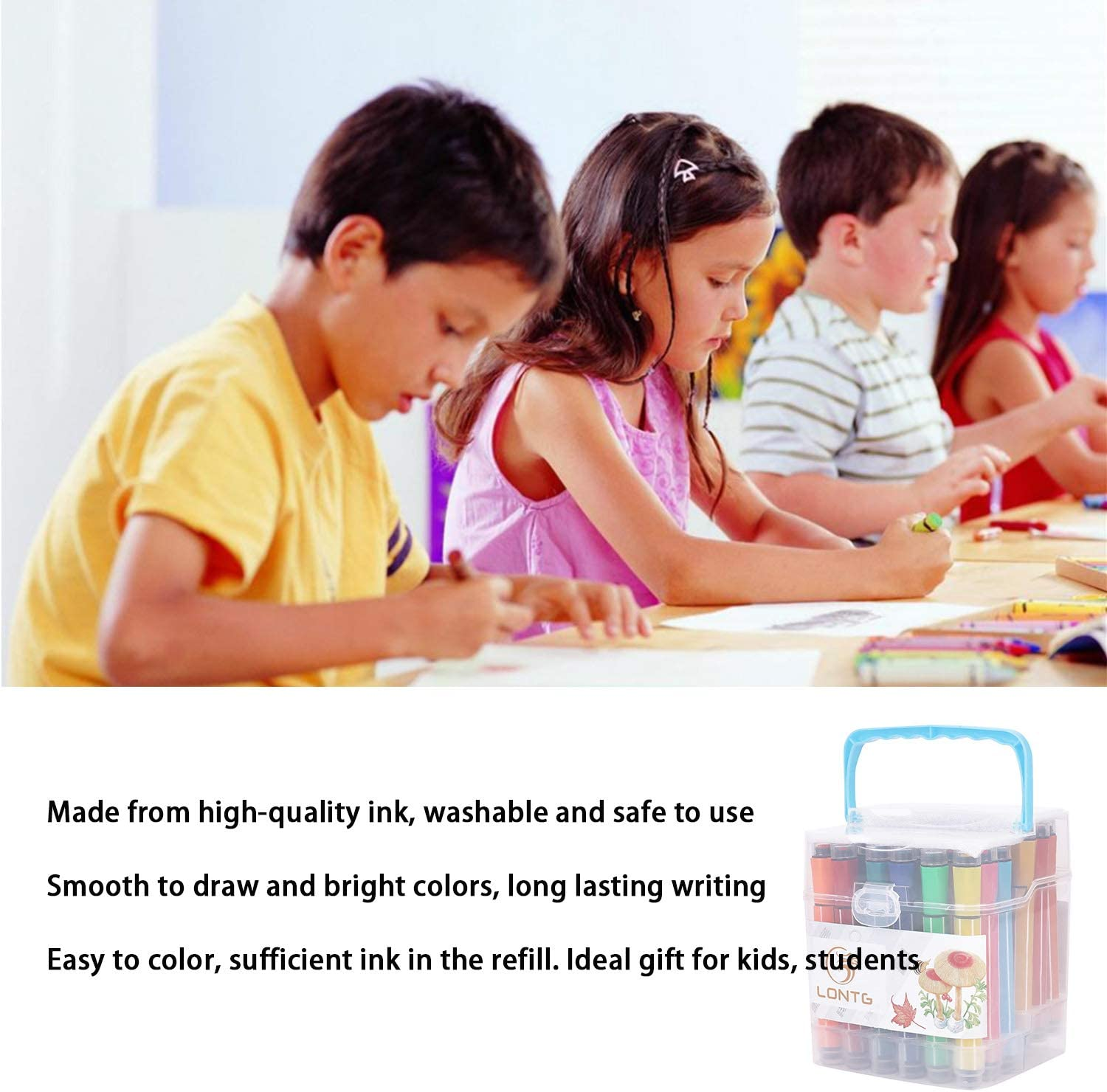 LONTG Colouring Pens for Kids Washable Water Colour Pen 24 Assorted Colours Felt Tip Colouring Pens Watercolour Brush Pen Set Drawing Pen Marker Pens for Children Students Painting Drawing Colouring
