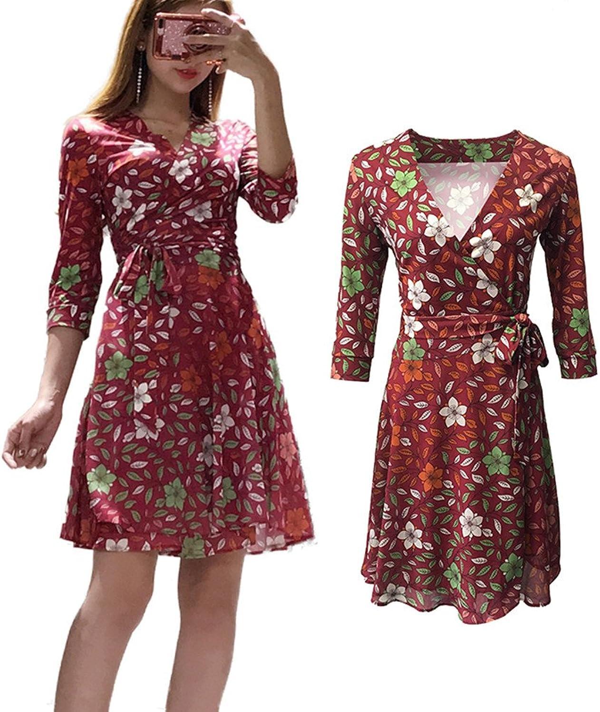 XC DVF Womens Midi Digital Floral Printed Slim Wrap Maxi Dress with Belt