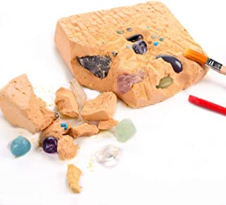 iSTONE Natural Stone Dig Kit Dig up 20 Real Gemstones Excavation Toys Gift For All Ages