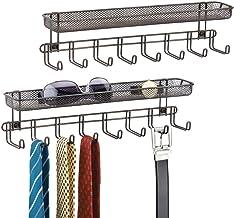 mDesign barre de crochets (lot de 2) – portemanteau mural avec 8 crochets pour bijoux, porte-cravates ou porte-ceintures –...