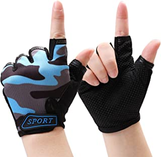 Cooraby Kids Kids Half Finger Gloves Outdoor Sport Fingerless Short Gloves Non-Slip Cycling Gloves Mittens for Girls Boys Sports