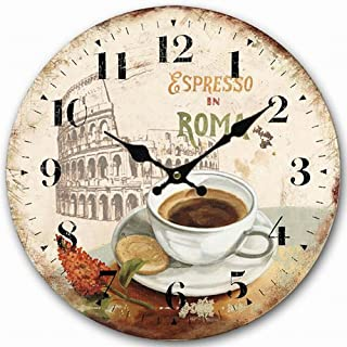 Round Wall Clock, Eruner Roman Style Decorative Wooden Clock 16-inch Country Cottage Kitchen Living Room Timepiece Sturdy Office Home Accessories Wall Decoration