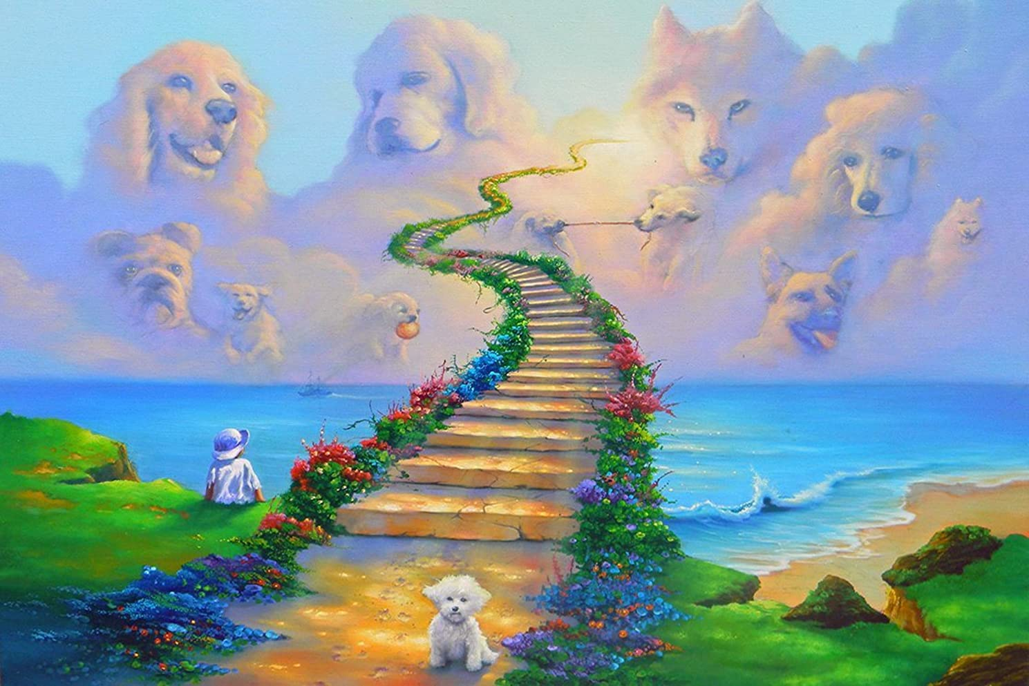 Diamond Painting Kits for Adults by Paint With Diamonds XL 60x40cm 'All Dogs Go to Heaven' Full Canvas Square Diamonds (Plus Free Premium Diamond Pen)