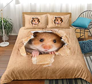 3D Hamster Bedding Set Papery Printing Duvet Cover Set Vivid Brown Hamster Quilt Cover Twin Size for Kids Girls Boys (Hamster, Twin)