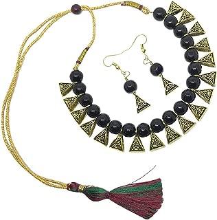 Boho Indian Oxidized Faux Pearl Beaded Vintage Tribal Statement Choker Necklace Earrings Jewelry Set