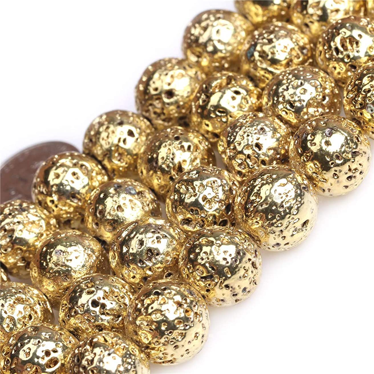 JOE FOREMAN Metallic Coated Round Volcanic Rock Stone Gemstone Beads for Jewelry Making Strand 15