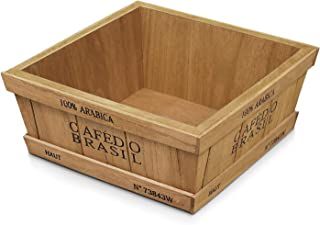 Flexzion Rustic Wooden Crates Vintage Decorative Tray Storage Display Box Container for Home Wedding Decor Flower Jewelry Organization Garden Planter Container Accessories