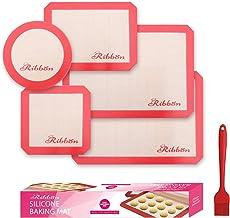 مجموعة من 5-2 مفرش نصف ورقية، 1 بطانة ربعة، 1 حصائر صينية كعك مربعة وواحدة - سيليكون آمن على الطعام غير لاصق قابل لإعادة ا...