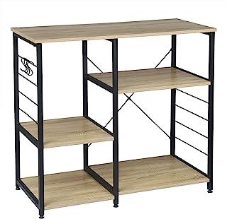WOLTU RGB9324hei półka kuchenna stojąca półka kuchenna półka piekarnicza półka metalowa wykonana z drewna i stali, z 5 pół...
