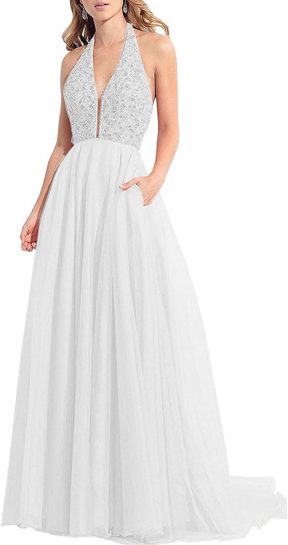 onlinedress Homecoming shopping Dress Halter High Long Beach Mall Beaded Prom Long