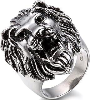 OIDEA Anillo para hombre de acero inoxidable con cabeza de león, estilo vintage, para motero, punk rock.