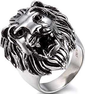 OIDEA Stainless Steel Bikers Gothic Lion Head Ring Band,Hypoallergenic,Size 7 to 14