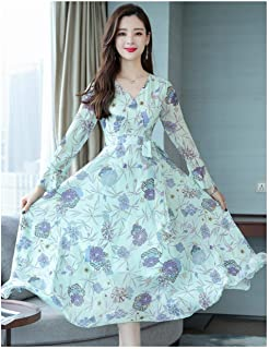 ABDKJAHSDK Large Size S-Xxxl Casual V-Neck Trumpet Sleeve Flower Print Ladies Long Chiffon Dress