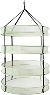iPower 2ft 4Layer Clip on Hanging Herb Dry Net with zipper, Collapsible Mesh Hydroponic Drying Rack Net