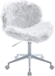Wahson Cute Faux Fur Task Chair with Wheels, Comfy Sherpa Fuzzy Swivel Desk Chair Armless, for Adults and Kids, Living Room, Bedroom, Vanity, Home Office, Grey