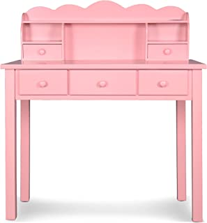 Home Office Furniture Writing Desk,Computer Work Station with Detachable Hutch,5 Drawers(Pink)