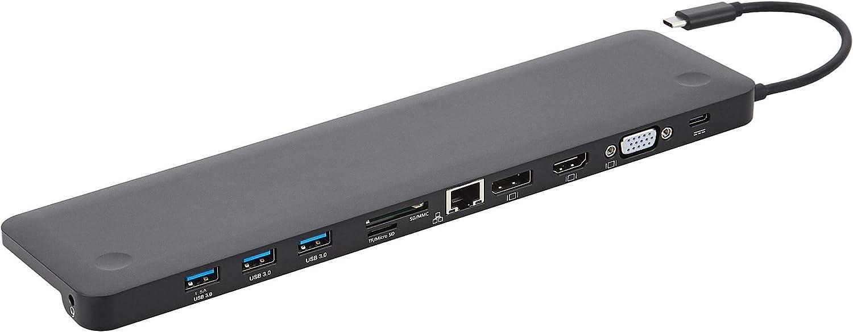 Amazon Basics Aluminum Type-C Docking with DisplayPort, HDMI, VGA, 3 USB-A, Ethernet, SD/TF Card Reader, Audio, and Type-C Charging Port (PD 100W) - Pedestal, Black