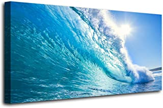 Canvas Prints Wall Art Blue Ocean Wave Surfing Sea Picture Paintings on Canvas Modern Canvas Art for Home Room Office Wall Decorations